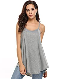 Meaneor Women's Loose Casual Pleated Racerback Tank Top