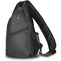 ZHF Unisex Sling Bag Chest Shoulder Small Backpack (Black)