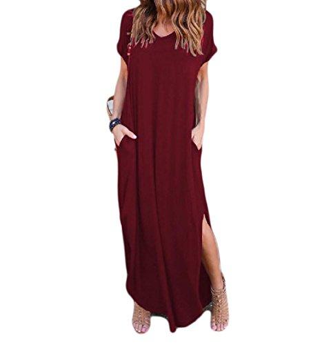 Vino Classe Coolred Manicotto Spaccato Solido Battente donne Rockabilly Vestito Colorato Collo Rosso Tasca V 4wd8TqTP