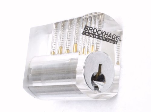 Clear Plastic Practice Lock (Standard Top Pins) - Practice Lock Cylinder