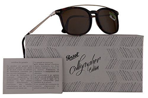 Persol PO3173S Calligrapher Edition Sunglasses Dark Havana w/Polarized Brown Lens 54mm 2457 PO 3173-S PO3173-S PO - Aniston Jennifer Sunglasses