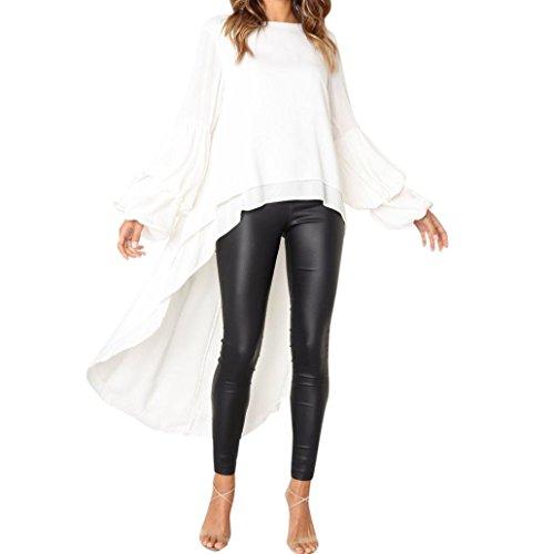 Clearance Sale Women Pullover Sweatshirts,Vanvler Ladies Ruffled Tops -Irregular Blouse (S, White)
