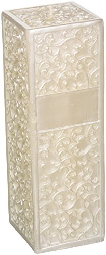 Square Wedding Pillar (Ivy Lane Design Wedding Accessories Embossed Square Pillar Unity Candle, White)
