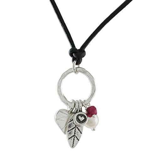 NOVICA Ruby Cultured Freshwater Pearl .950 Sterling Silver Heart Shaped Necklace 'Charms of Love' ()