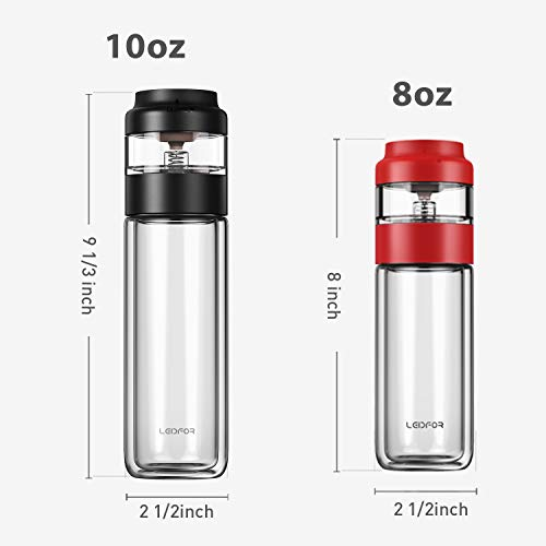 LEIDFOR Glass Tea Tumbler with Leaf-Tea Separation Infuser, Double Wall Glass Travel Tea Mug, Leakproof Tea Bottle with Strainer BPA Free Black 8 Ounce by LEIDFOR (Image #4)