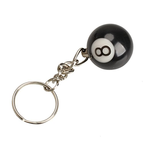 Billiard Ball Ornament (ODETOJOY 1 Piece Black 8 Ball Keychain EIGHT Billiards Pool No.8 Ball Keyrings Ornament for Handbags or Schoole Pack)