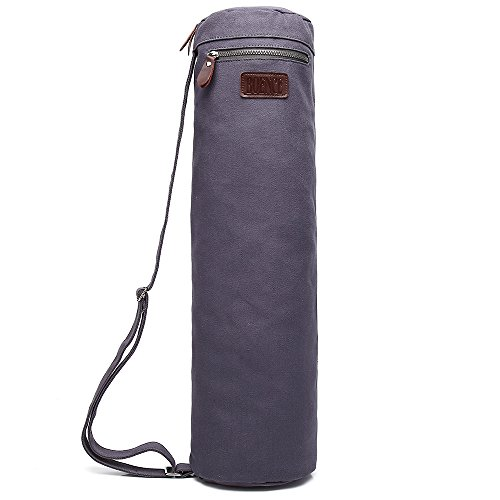 Boence Yoga Mat Bag, Full Zip Exercise Yoga Mat Sling Bag with Sturdy Canvas, Smooth Zippers, Adjustable Strap, Large Functional Storage Pockets – Fits Most Size Mats (Classic gray)