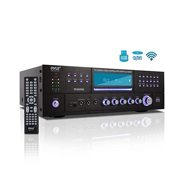 4 Channel Wireless Bluetooth Amplifier – 3000 Watt Stereo Speaker Home Audio Receiver w/FM Radio, USB, 2 Microphone w/Echo for Karaoke, Front Loading CD DVD Player, LED, Rack Mount – Pyle PD3000BA