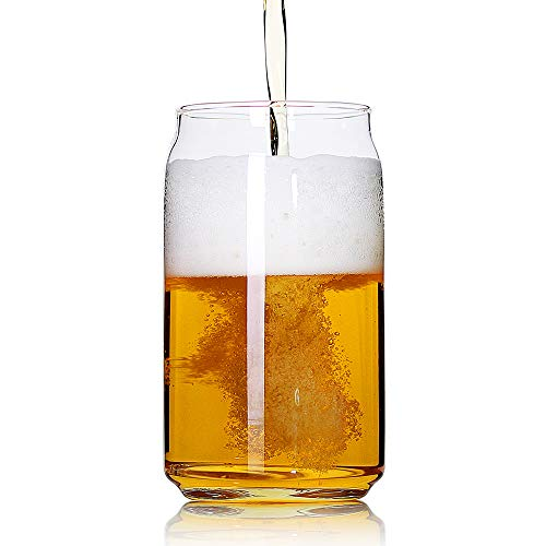 Beer Soda Pint Glasses - Large Beer glasses,20 oz Can Shaped Beer Glasses Set of 4,Elegant Shaped Drinking Glasses is Ideal Gift,Tumbler Beer Glasses Great for Any Drink and Any Occasion