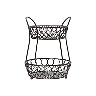 Gourmet Basics by Mikasa Loop And Lattice 2-Tier Metal Basket, Antique Black