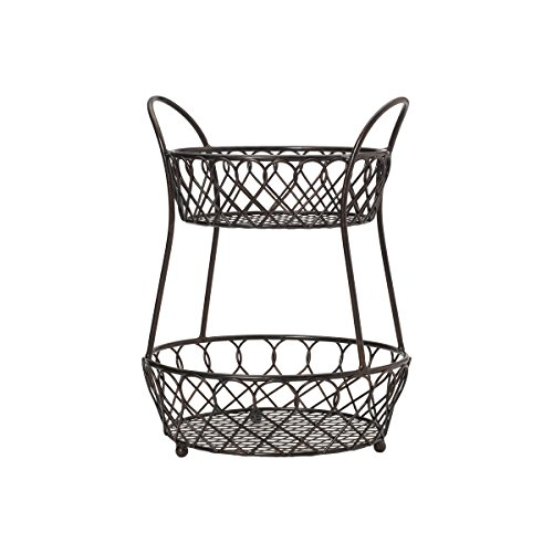 (Gourmet Basics by Mikasa 5158748 Loop and Lattice Metal 2-Tier Round Fruit Storage Basket, Antique)