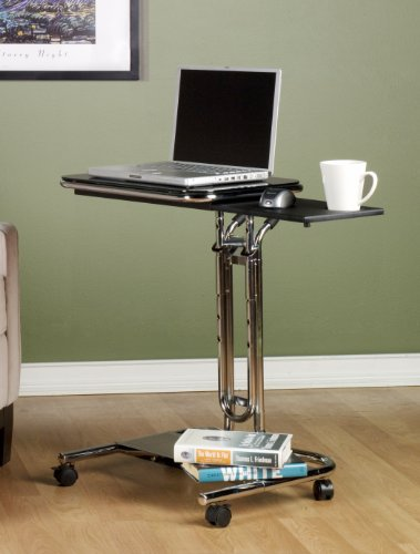 Calico Designs 51200 Laptop Cart with Mouse Tray in Chrome and Black (Mouse Cart)
