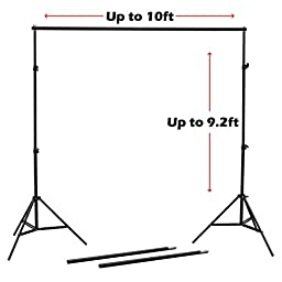NulinkTM 9ft x 10ft Professional Photography Video Photo Adjustable Muslim Backdrop Support Stand Kit with Crossbar & Carry Bag