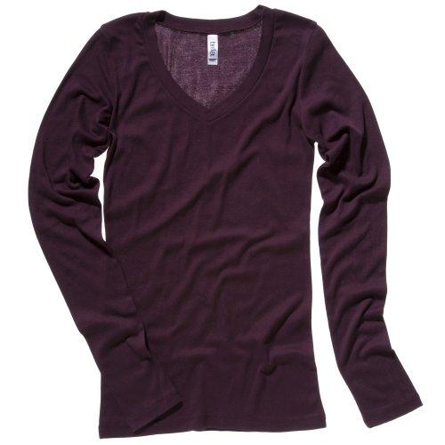 Bella + Canvas Womens/Ladies Sheer Mini Rib Long Sleeve V-Neck T-Shirt (14 US) (Plum)