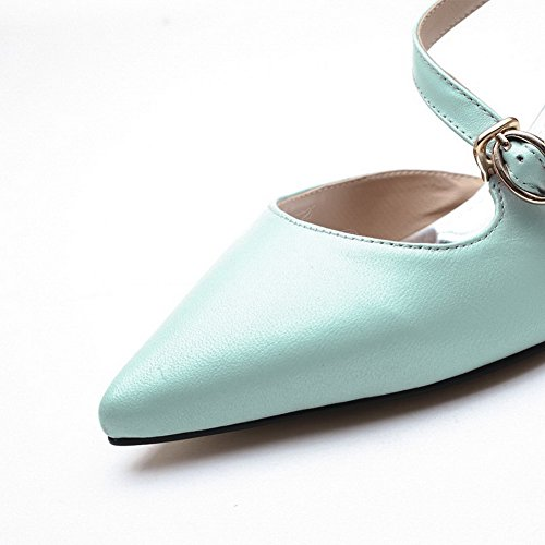 Toe Pull On Solid Womens Blue Pointed Sheepskin Sandals AmoonyFashion Kitten Heels wqftYR