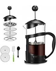 French Press Coffee Maker 12oz(350ml) Coffee/Tea Maker with 4 Level Filtration, Heat Resistant Borosilicate Glass Carafe with Durable Handle, with Cleaning Brush & Measuring Spoon