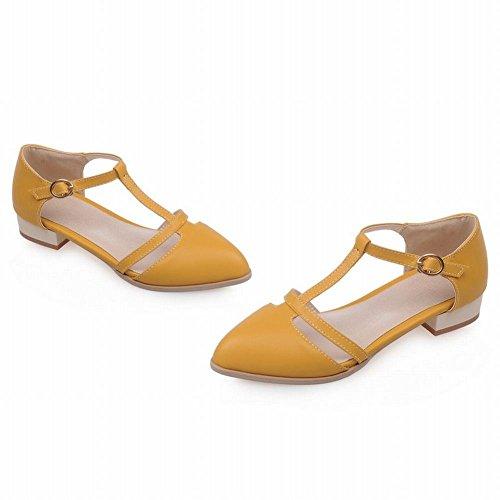 Mee Shoes Damen t-strap Schnalle niedriger Absatz Mary Jane Halbschuhe Gelb