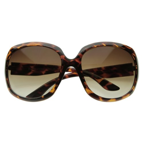 zeroUV - Designer Inspired Large Round Fashion Womens Oversized Sunglasses (Tortoise Shell)