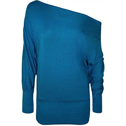 Las señoras de hombro murciélago ala parte superior - un montón de colores - más tamaños disponibles Azul