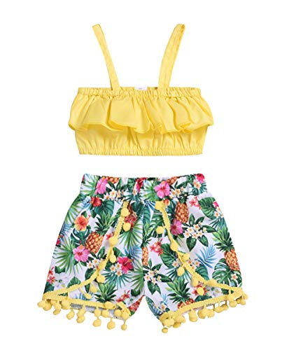 (Kids Toddler Baby Girls Summer Shorts Outfits Sling Tube Top+Tassel Pineapple Shorts Sunsuit Beachwear Clothes Set (Pineapple, 3-4 Years))