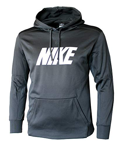 (NIKE Men's Therma FIT Pullover Hoodie Grey/White (Large))