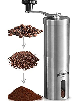 Manual Coffee Grinder Premium Burr Coffee Grinder Adjustable Setting Conical Burr Mill & Brushed Stainless Steel - Manual Coffee Bean Grinder for Aeropress, Drip Coffee, Espresso, French Press, Turkish Brew USA Company... (Stainless) by Platinum Brew