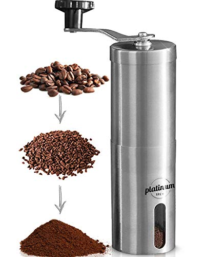 Manual Coffee Grinder Premium Burr Coffee Grinder Adjustable Setting Conical Burr Mill & Brushed ...