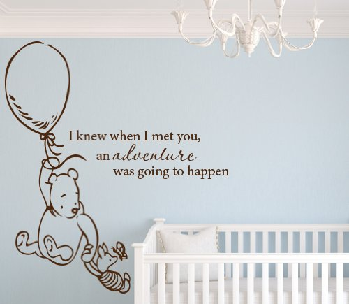 Lovely Decals World Classic Winnie the Pooh I Knew When I Met You an Adventure Was Going to Happen 32 Wx36H Wall Decal Art Vinyl Sticker Baby