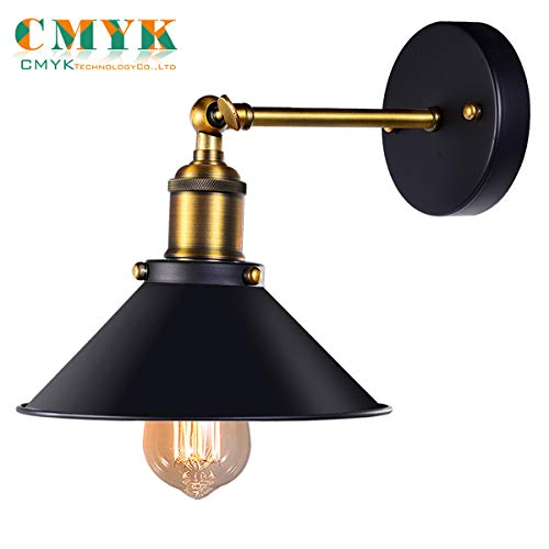 Black Antique Wall Sconce, Industrial Retro Wall Light Fixture Metal Lamp Shade 240 Degree Adjustable.Be used for restaurants and galleries,Aisle,kitchen,Room,Doorway