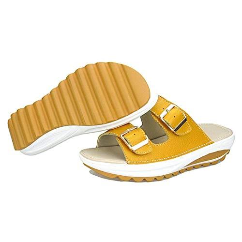 Spiaggia Donna Piatti Donna Antiscivolo Scarpe 34 colore Giallo 5 Uk Estate Peep Eu Toe Zhrui 2 Pantofole Platform Sandali Da Dimensione Morbide Bianca qn7xtfw