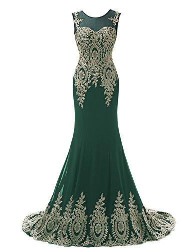 Sarahbridal - Vestido - Sin mangas - para mujer verde oscuro