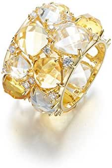 CDE Crystals Ring for Women Fashion Jewelry 18K Gold Plated