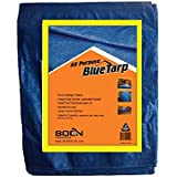 Multi-Purpose Blue Poly Tarp Cover (30 Ft X 40 Ft) Heavy Duty 5 Mil Thick Weave Material, Waterproof, Great for Tarpaulin Canopy Tent, Boat, RV or Pool Cover and More