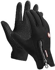 Kungber Hardloophandschoenen, Sport Thermo handschoenen winterhandschoenen anti-slip fietshandschoenen, winddicht en waterdicht handschoenen verstelbaar voor dames en heren