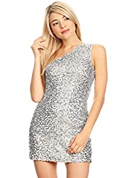 One Shoulder Sparkly Sequin Cocktail Dress