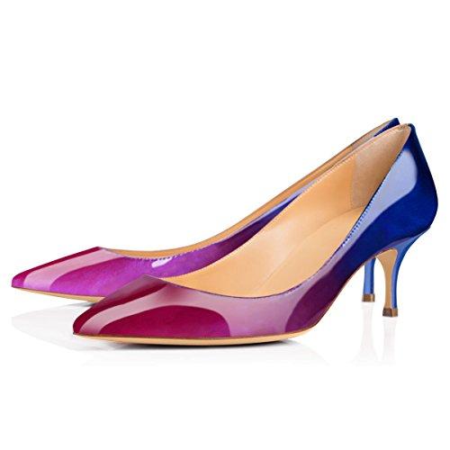 ... Onlymaker Damen Klassische Spitzschuh Mid Heel Large Size Kleid Party  Pump Schuh Blue to Purple ...