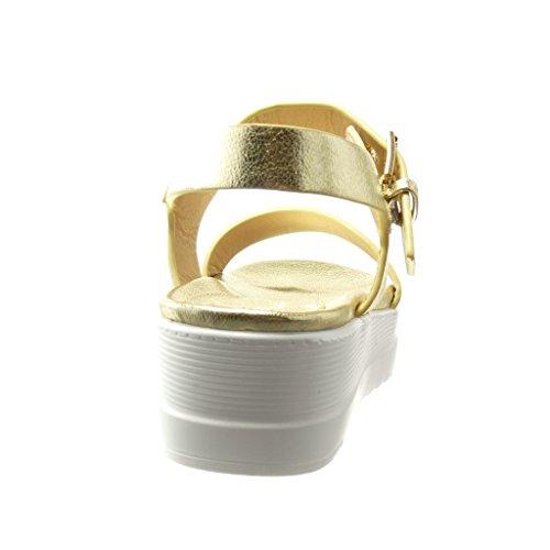 Angkorly Chaussure Mode Sandale Mule Plateforme Femme Lanière Brillant Talon Compensé Plateforme 5 CM - Or