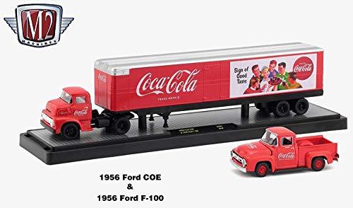 M2 Machines 1956 Ford COE & 1956 Ford F-100 Truck (Coke Red Body) Auto-Haulers Coca-Cola Release 2 Castline 2018 Premium Edition 1:64 Scale Die-Cast Vehicle Set (50S01 18-04)