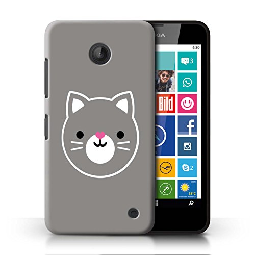 STUFF4 Phone Case / Cover for Nokia Lumia 635 / Cat / Kitten Art Design / Cute Minimalist Animals - Nokia 635 Cases For Girls Phone