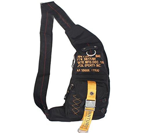 Innturt Nylon Sling Bag Daypack Chest Bag Messenger Backpack Outdoor (Black & Yellow)