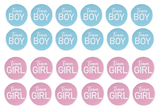 Gender Reveal Button Pins - 24-Pack Team Girl and Team Boy Pinback Badge Accessories, Baby Shower Supplies, Party Favors, 12 of Each Design, Pink and Blue, 2.2 Inches -