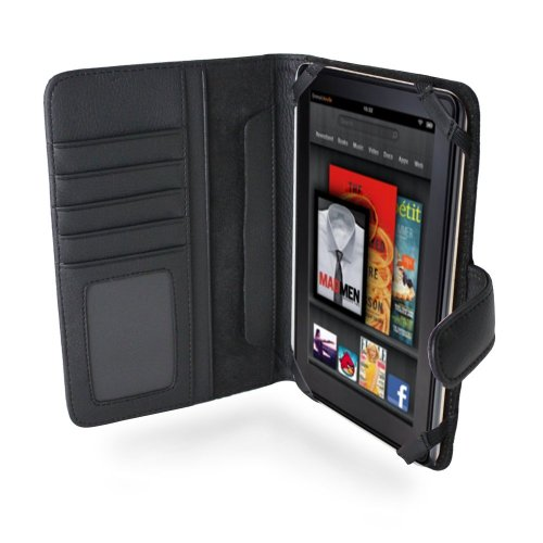 Navitech Genuine Black Napa Leather Flip Open Book Style Carry Case Cover Compatible with The New Kindle Fire 7 Inch Tablet by Amazon (September 14th Launch)