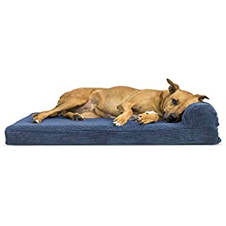Furhaven Pet Dog Bed   Deluxe Orthopedic Faux Fleece & Corduroy Chaise Lounge Living Room Couch Pet Bed w/ Removable Cover for Dogs & Cats, Navy, Large