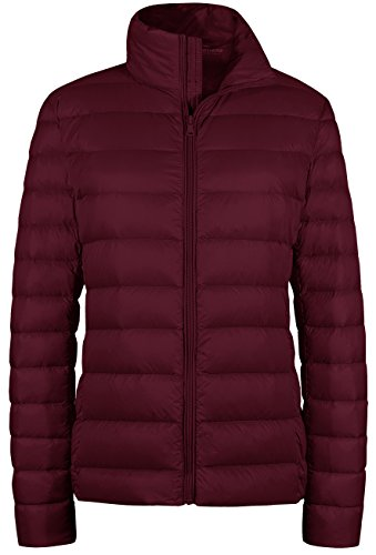(Wantdo Women's Packable Ultra Light Weight Short Down Coat(Wine Red, US)