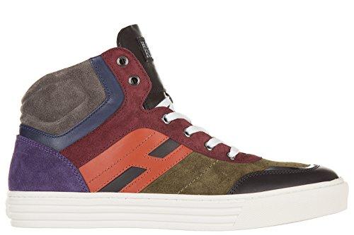 Hogan Rebel chaussures baskets sneakers hautes homme en daim r206 mid cut zip ve