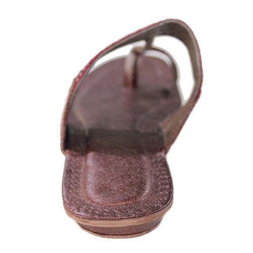 W & W Mujeres Ladies Casual Flat Sandal indio hecho a mano bordado kolapuri Talla k902), color marrón Marrón - marrón