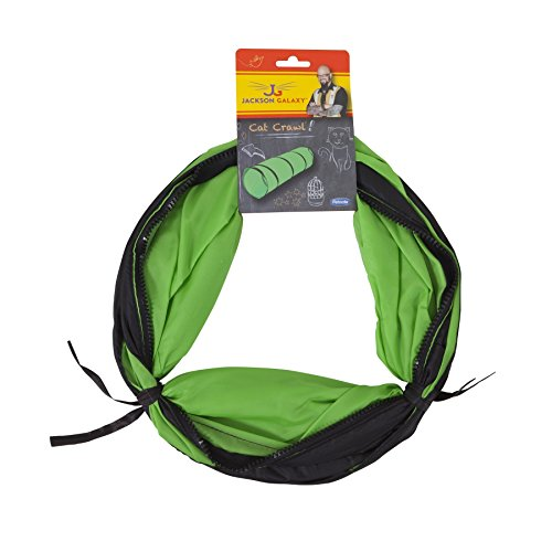 Petmate Jackson Galaxy Cat Crawl Solid Tunnel, Green/Orange