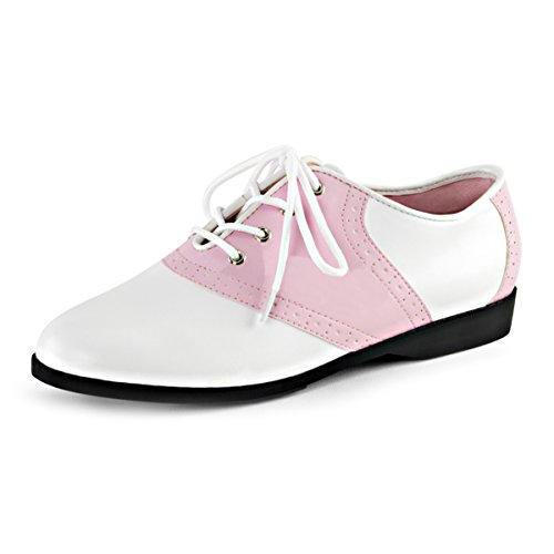 Womens Saddle Oxford Shoes Two Tone White Pink Lace Up Retro Costume Flats Size: (Sandy And Danny)
