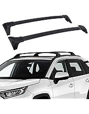 Roof Rack Cross Bars Compatible with 2019 2020 2021 Toyota Rav4 - Anti-Theft Lock Mechanism Black Matte Aluminum Anti-Corrosion Cargo Bars Max Loading at 165lb