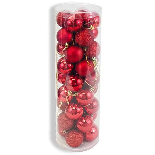 allgala Christmas Tree Ornament Balls, 36 PK 4 Style 2